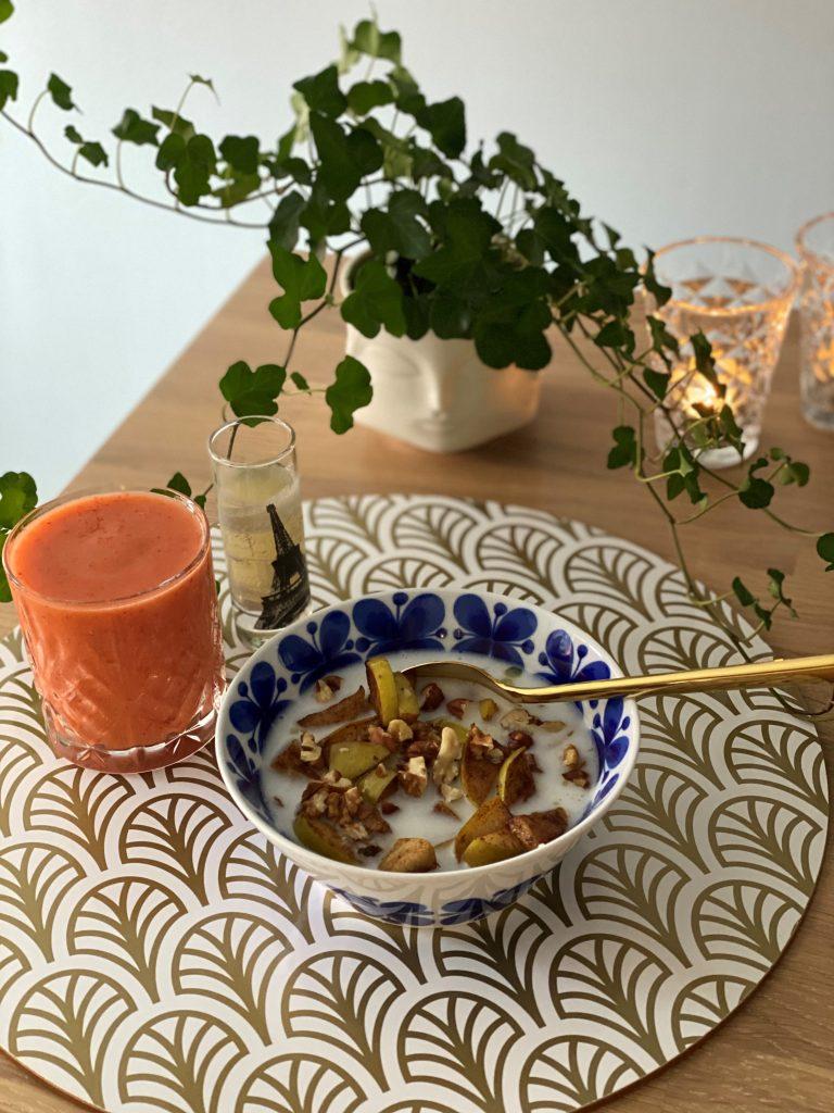 Frukost gröt smoothie ingefärsshot