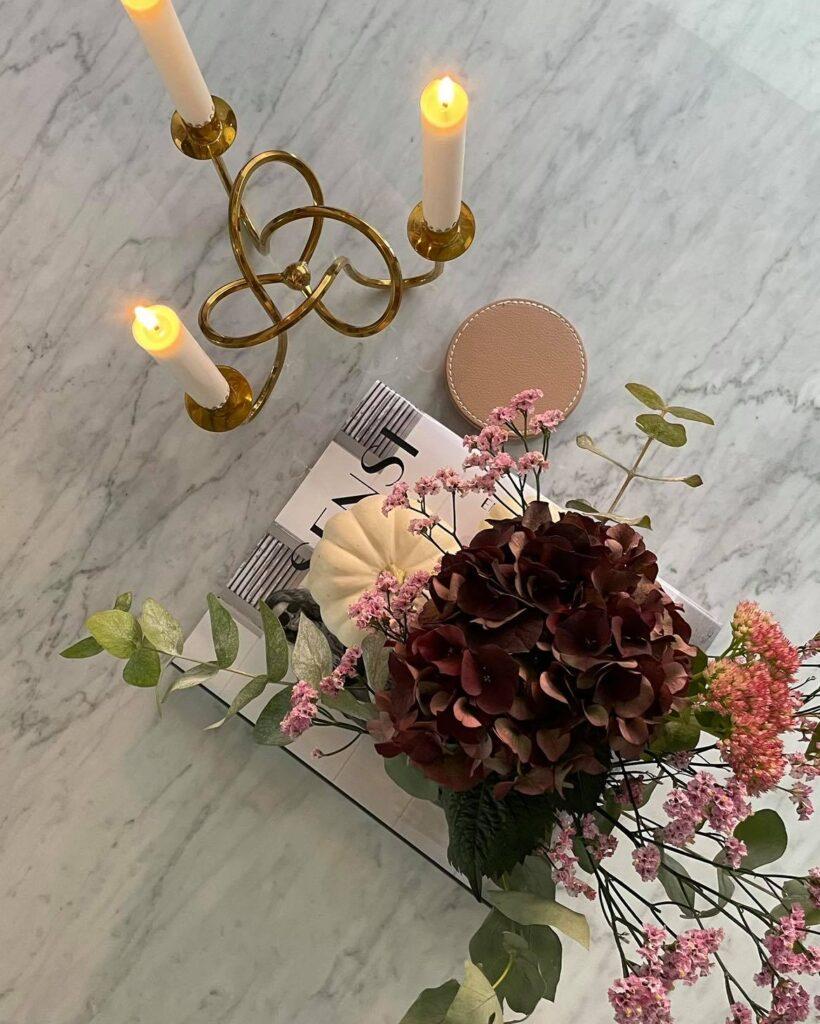 Marmorbord blommor