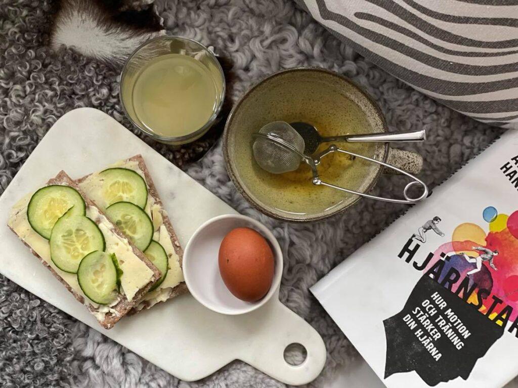 Frukost Ägg Knäckebröd Glutenfritt Grönt the Ingefärsshot Hjärnstark Hälsosam mat Hälsosam livsstil